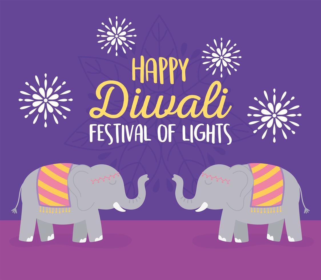 glad diwali festival. elefanter och blommor kort vektor