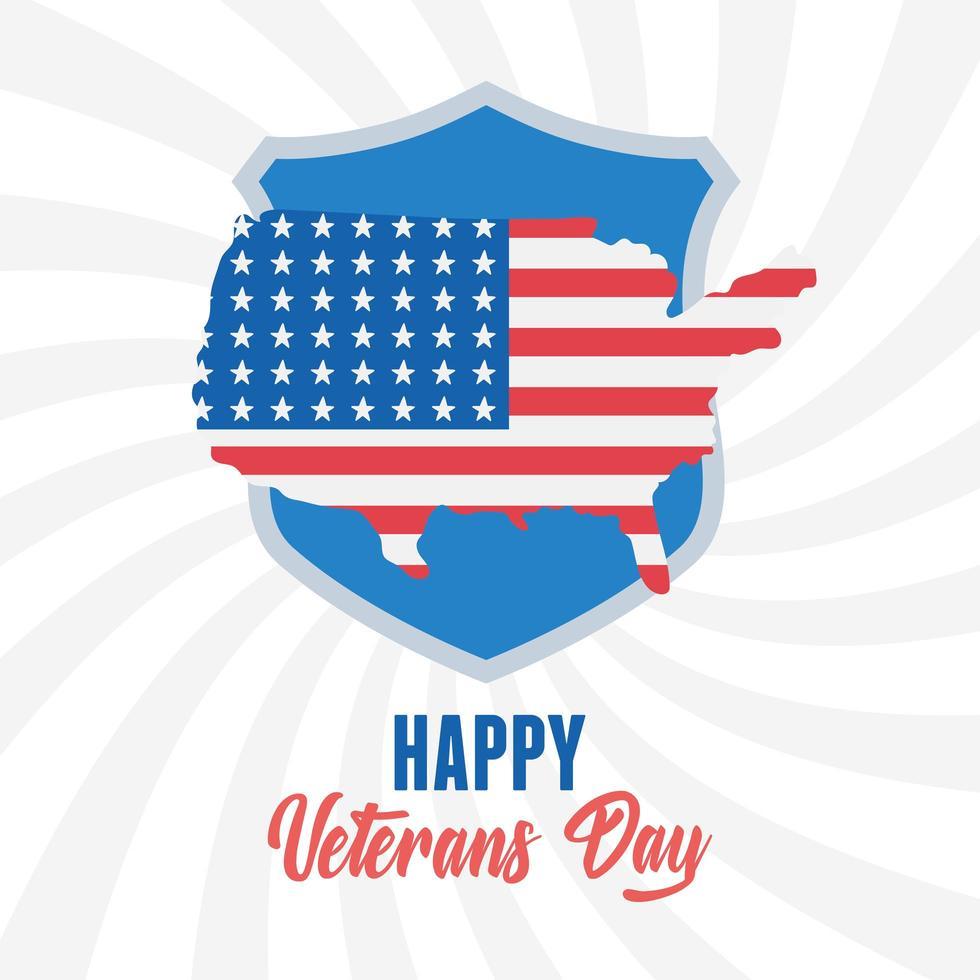 glad Veteranernas dag. amerikanska flaggan i karta emblem vektor