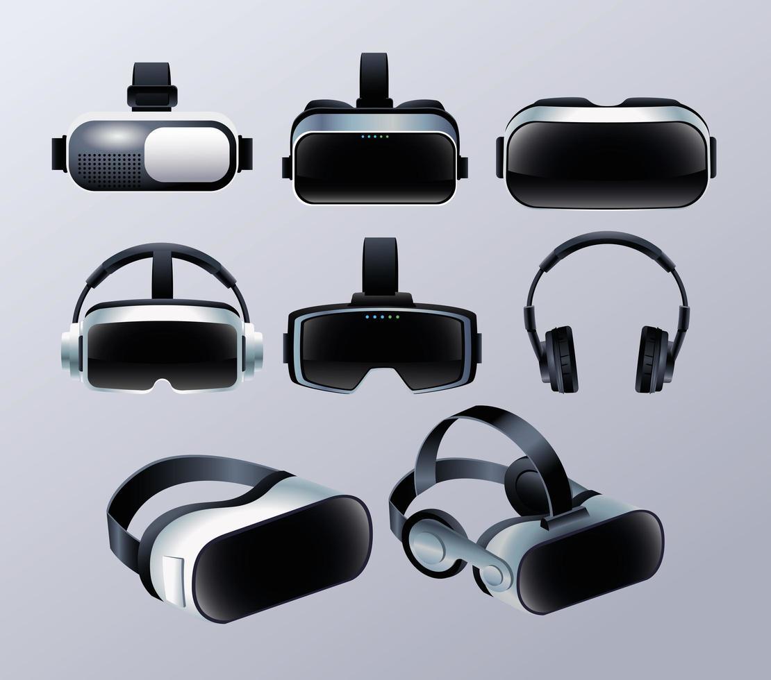 uppsättning virtual reality-masker och hörlurstillbehör vektor