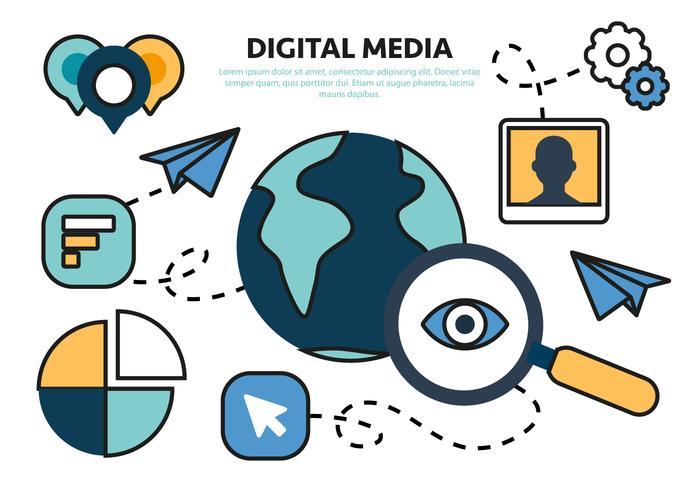 Gratis Flat Digital Marketing Concept vektor