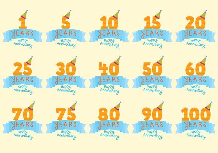 Feierliche Jahrestag Abzeichen Vektoren