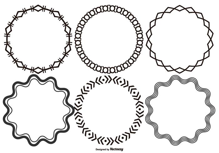 Rund dekorativ vektor Ramar