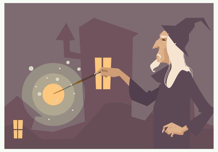 Zauberer mit seinem Magic Stick Vektor