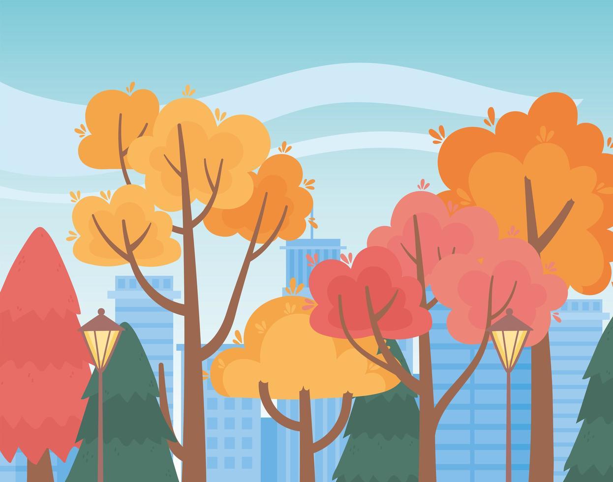 landskap på hösten. parkera träd, lampor och stadsbild vektor