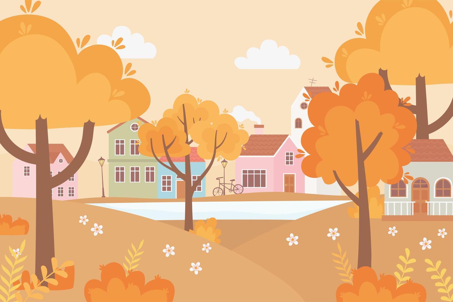 landskap på hösten. by, gata, cykel och hus vektor