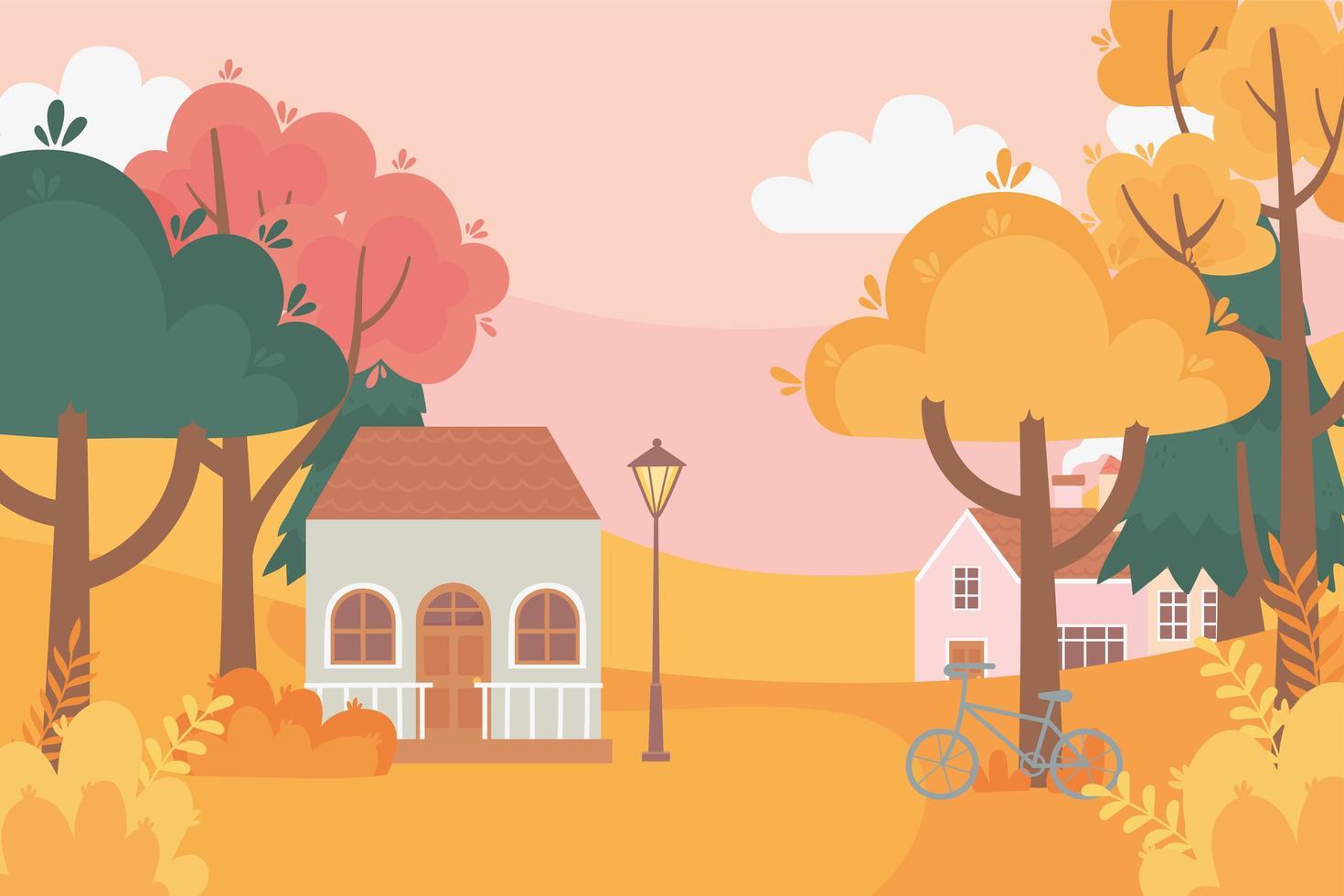 landskap på hösten. hus, cykel, lampa och träd vektor