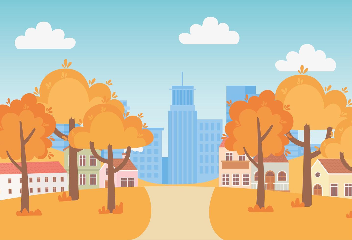 landskap på hösten. förortshus och urban stadsbild vektor