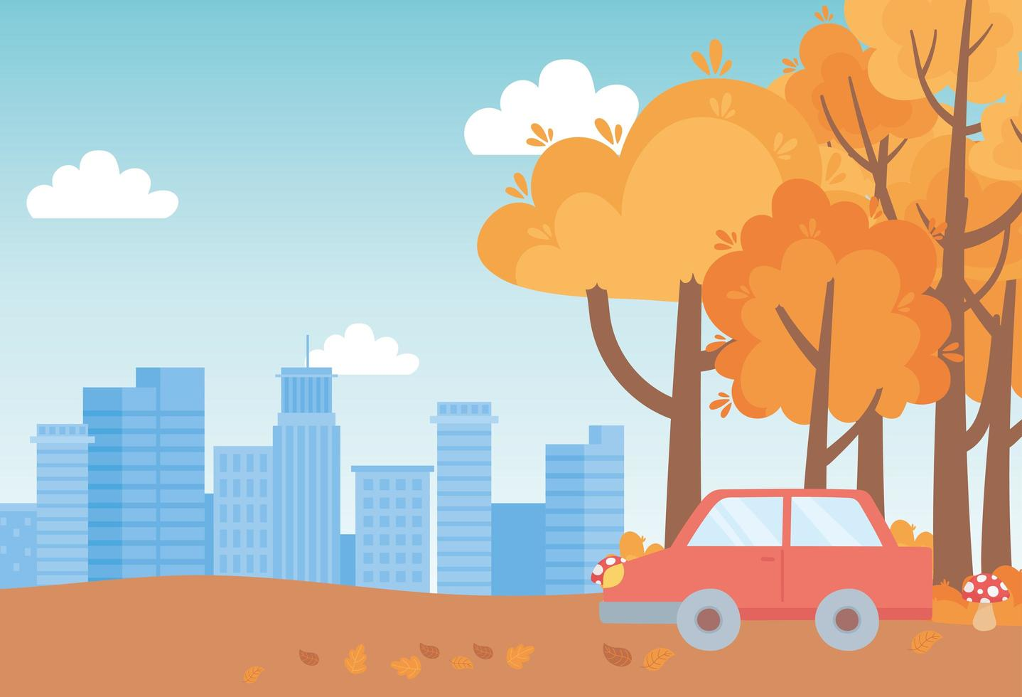 Landschaft im Herbst. Auto, Pilze, Bäume und Stadtbild vektor