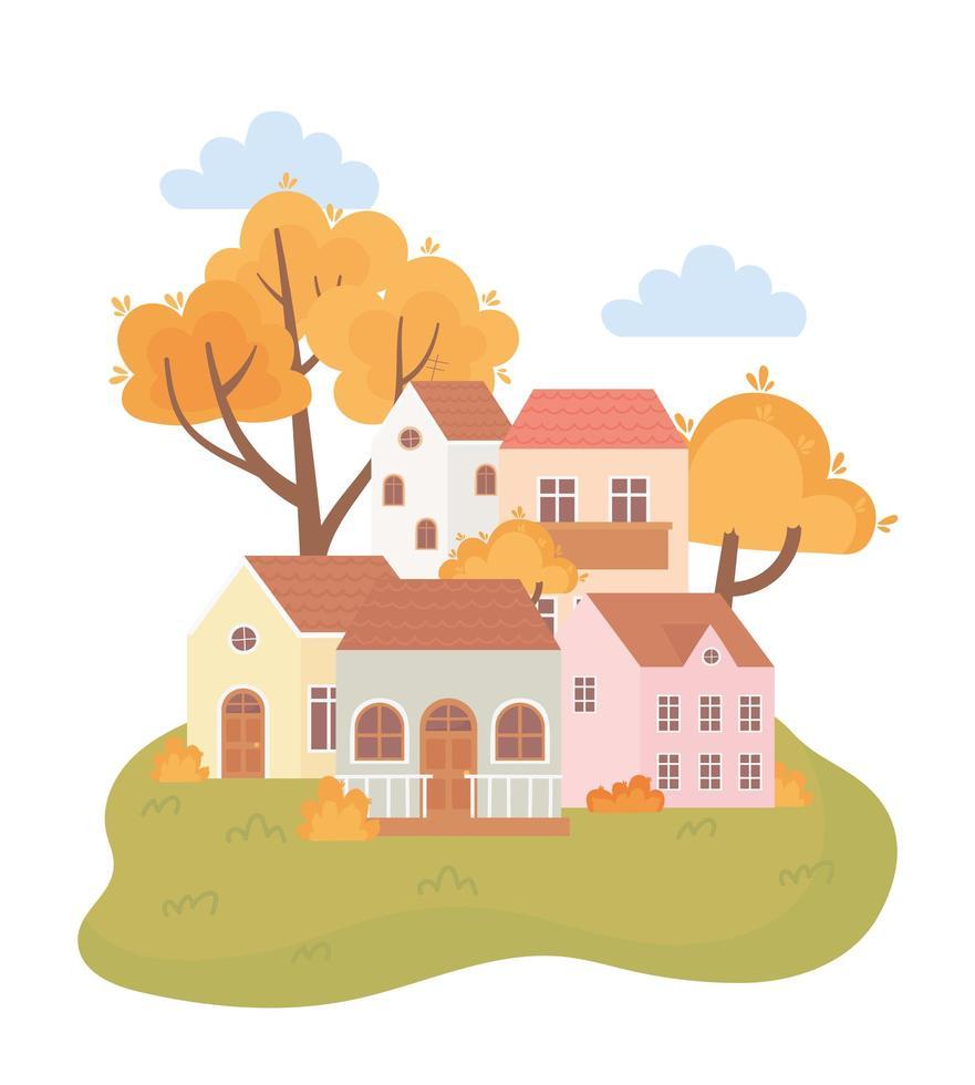 landskap på hösten. hus, träd, löv och buskar vektor