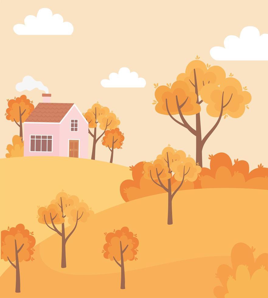 landskap på hösten. landsbygdens hus, träd och buskar vektor