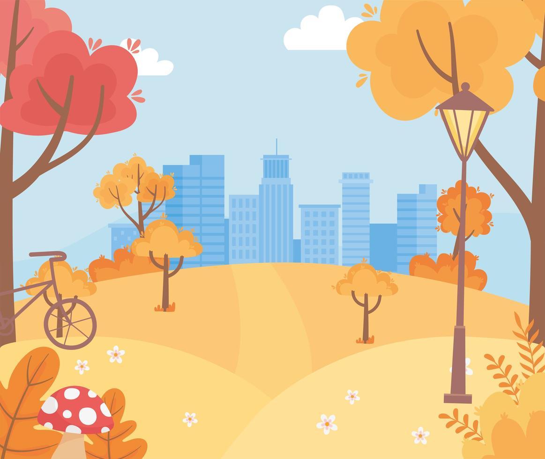 Landschaft im Herbst. Stadtbild, Hügel und Fahrrad vektor