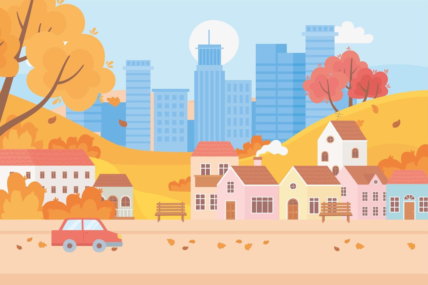 landskap på hösten. stadsbild stads- och förortshus vektor