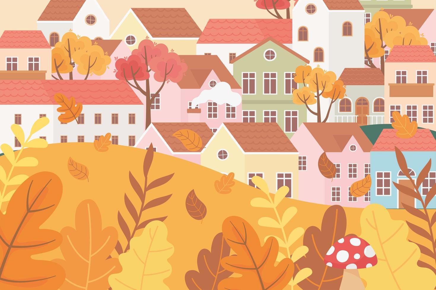 Landschaft im Herbst. Dorfhäuser, Pilze und Blätter vektor