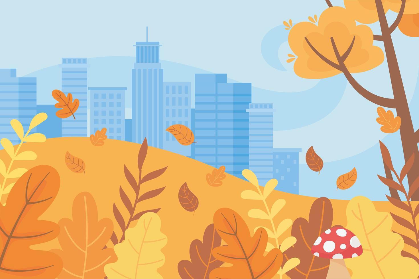 landskap på hösten. stadens stadsbyggnader och träd vektor