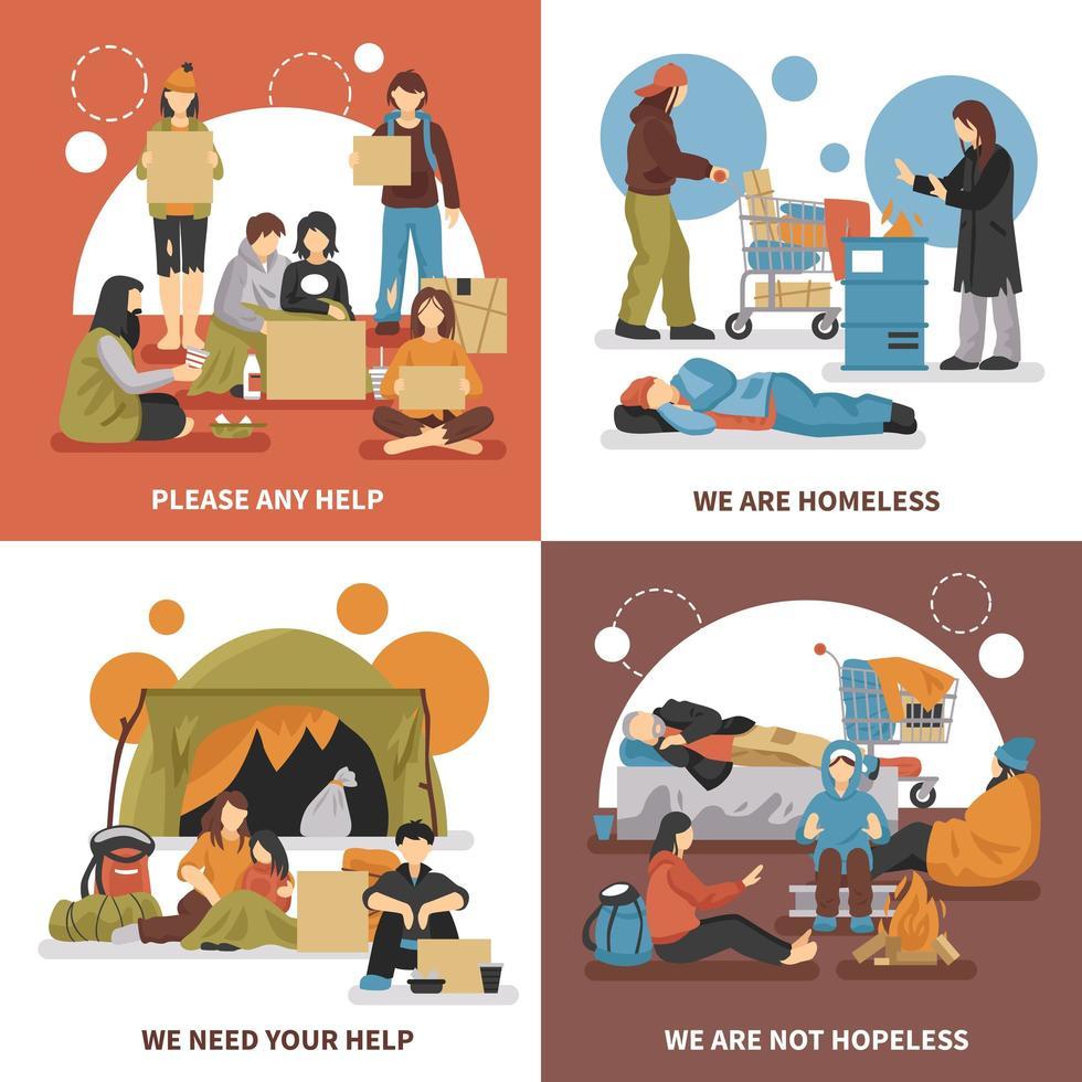 Obdachlose setzen vektor