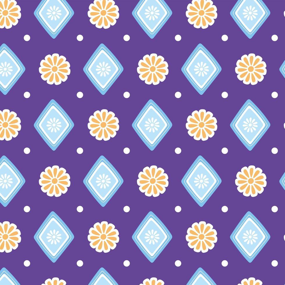 etniska handgjorda. blommor geometrisk dekoration bakgrund vektor