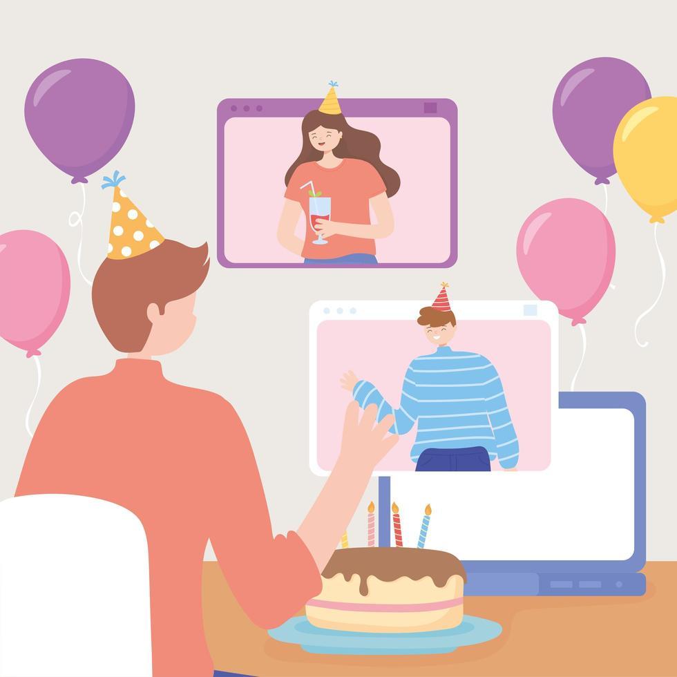 man i firande med vänner via dator vektor