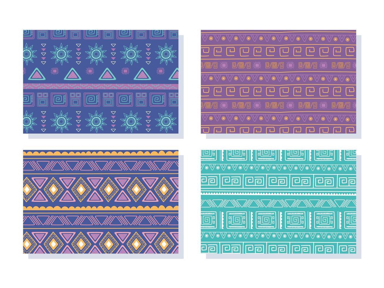 etniska handgjorda. samling av tribal bohemiska mönster vektor