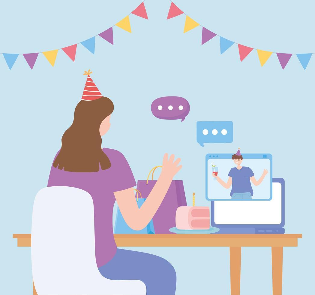 online-fest. kvinna och man pratar via dator vektor