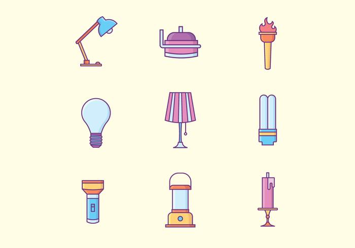 Freie Lampen Icons vektor