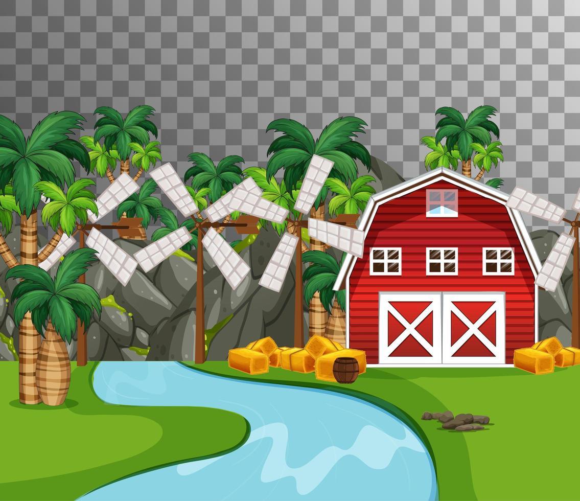 Bauernhof mit roter Scheune und Flussseite auf transparentem Hintergrund vektor