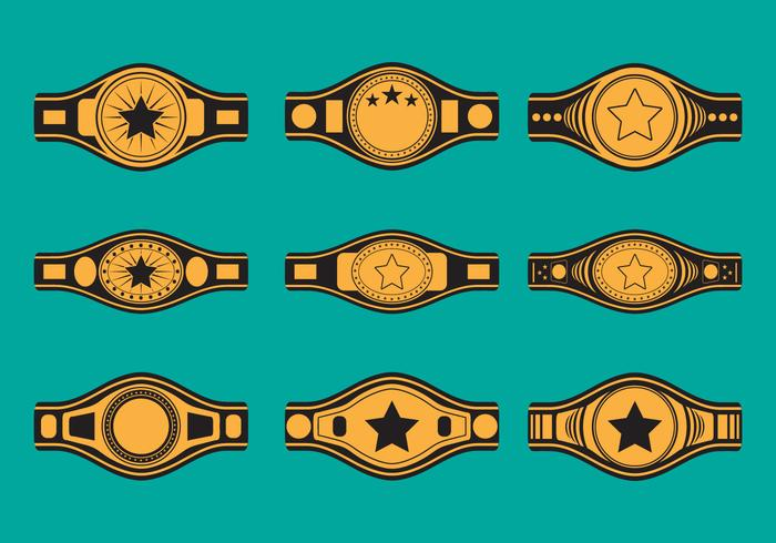 Mästerskap bälte ikonuppsättning vektor