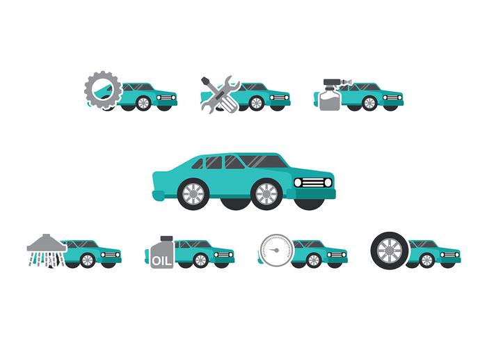Teal Car Auto Body Icon Vektoren