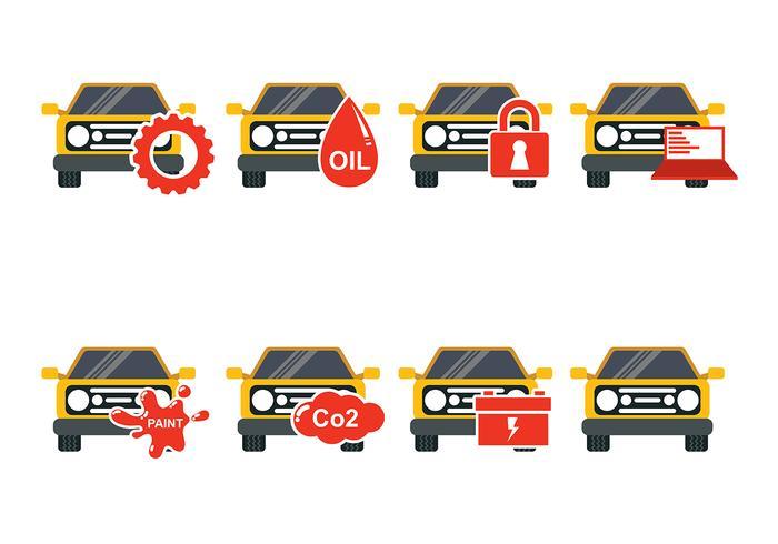 Gul bil auto organ Ikon vektorer
