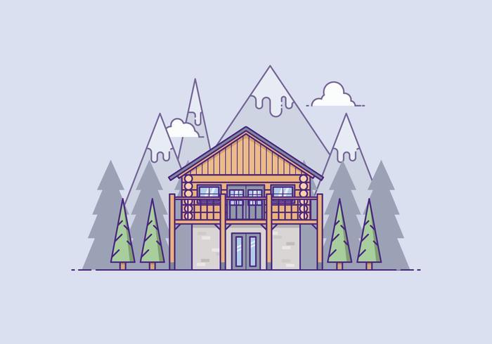 Holzhaus in vor einem Berg vektor