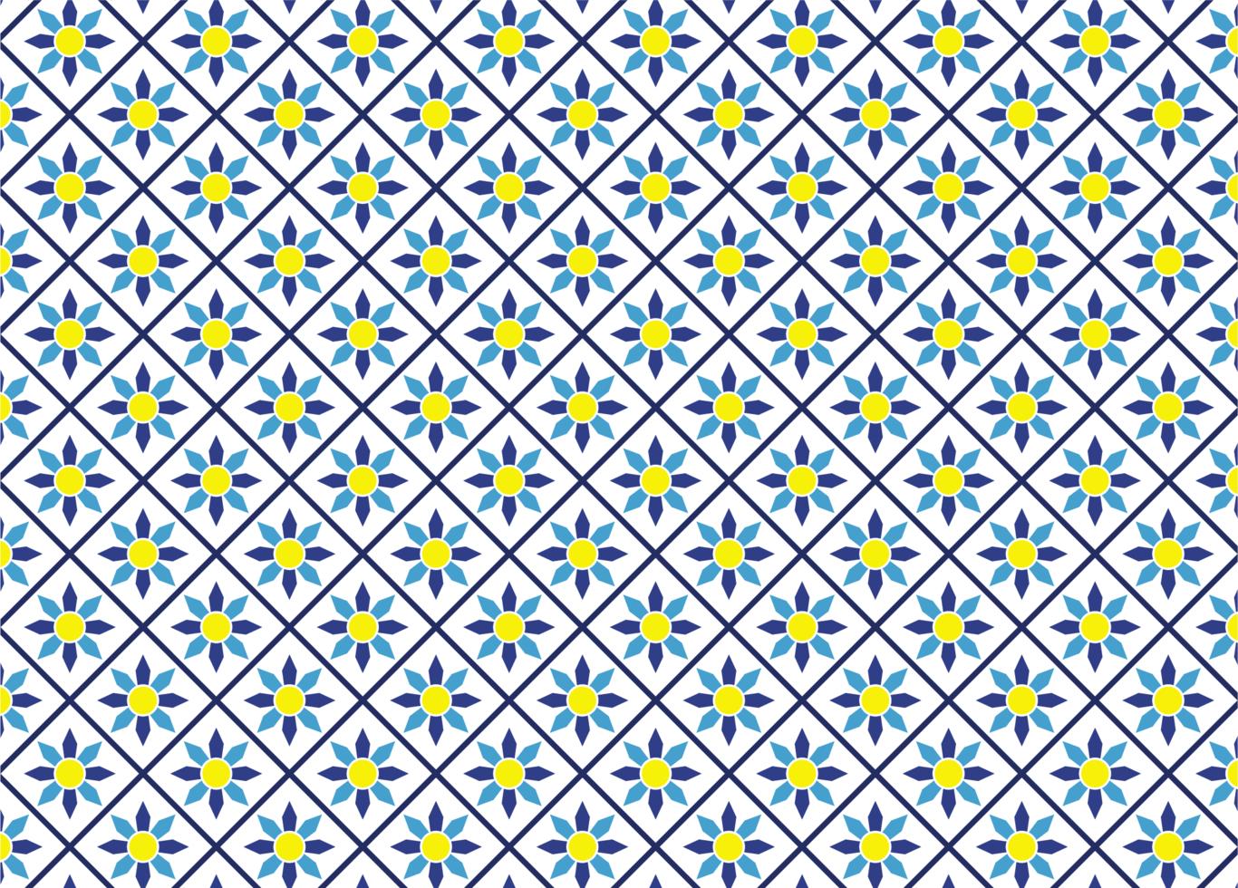 blaues und gelbes Blumenfliesenmuster vektor