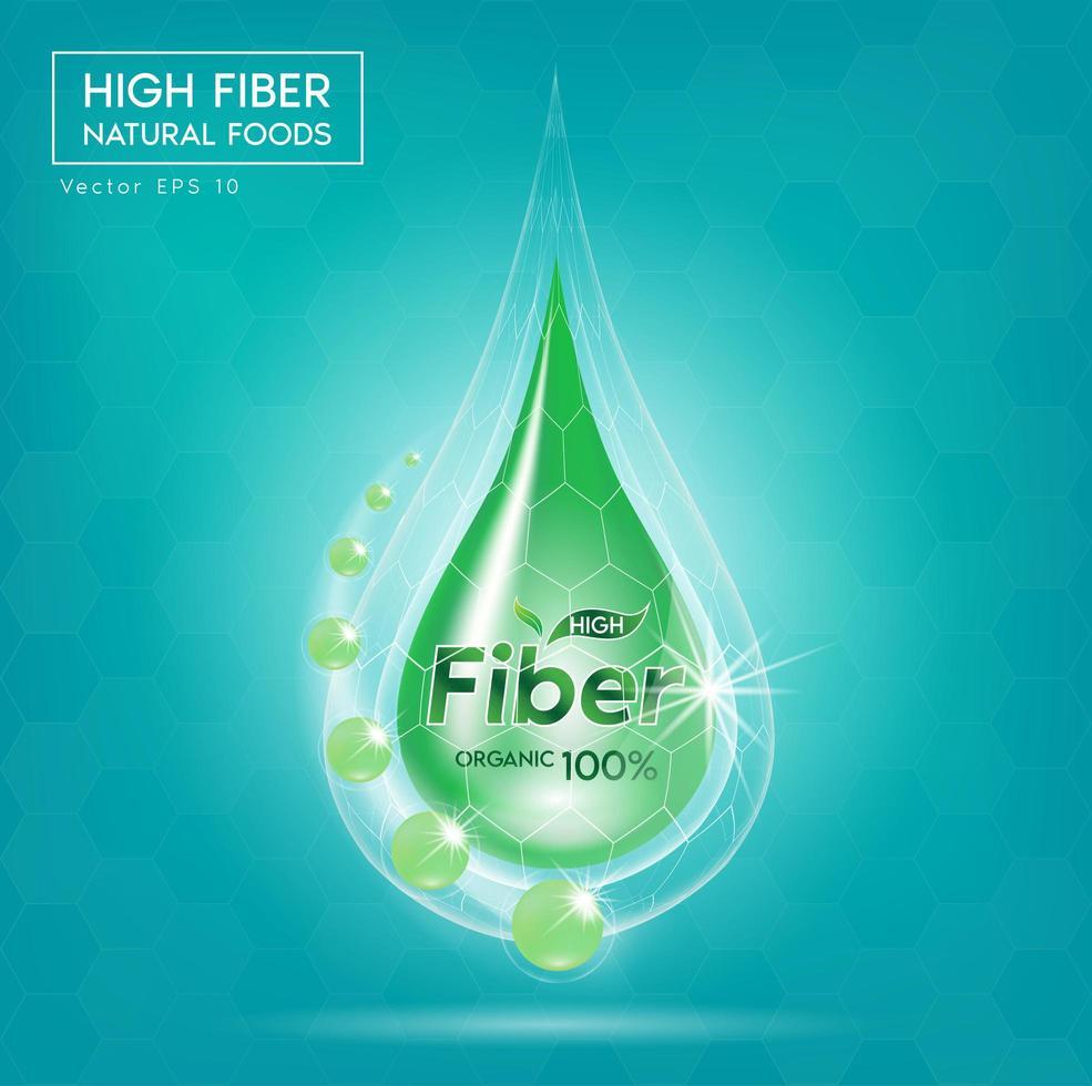 matfiber för hälso- och hälsokonceptbanner vektor