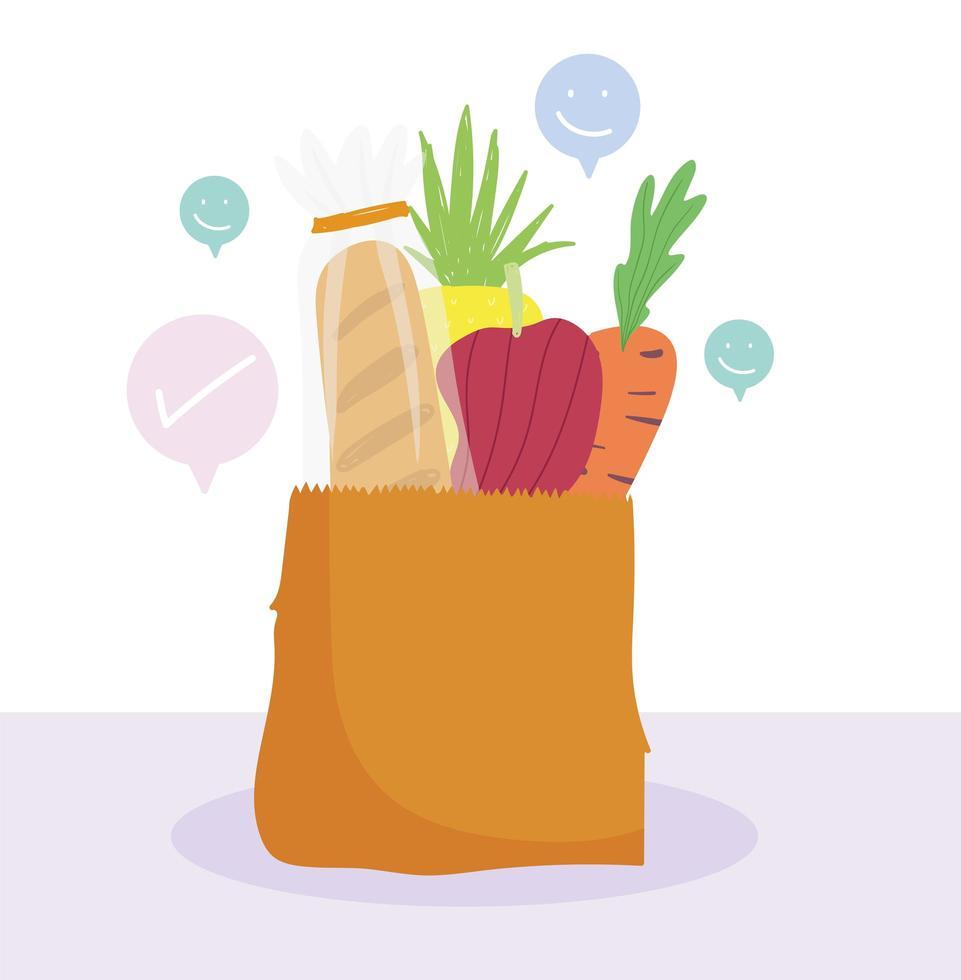 papperspåse med morot, bröd och peppar vektor
