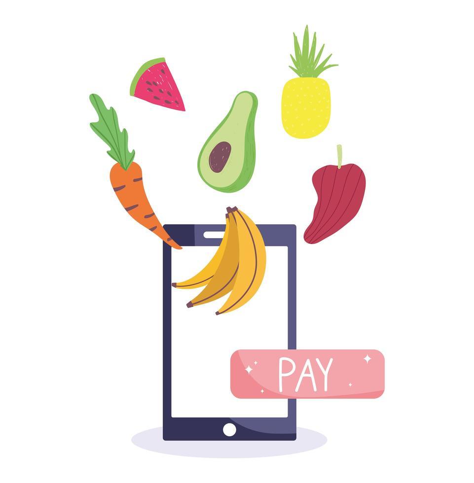 smartphone, frukt och betalknapp vektor