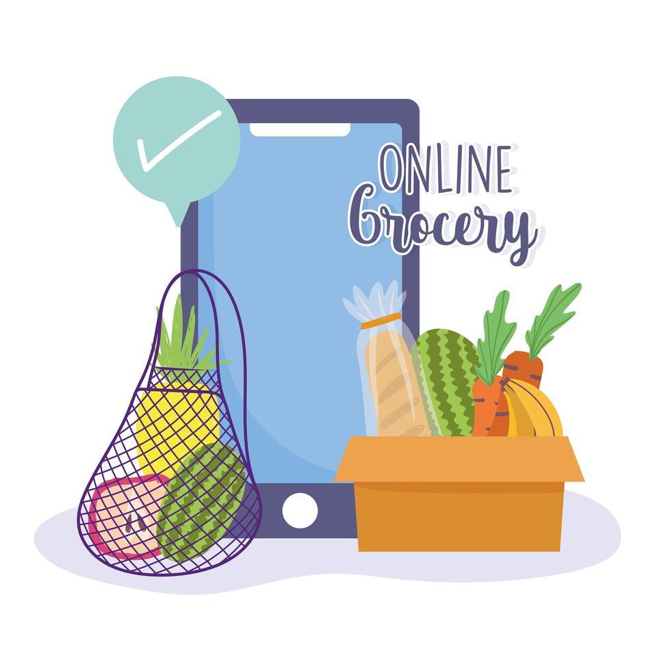 Smartphone und Häkchen. frische Lebensmittel bestellen vektor