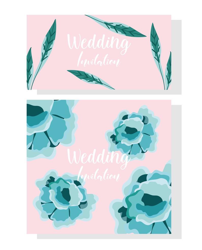 Hochzeitseinladungsblumen. dekoratives Ornamentkarten-Design vektor