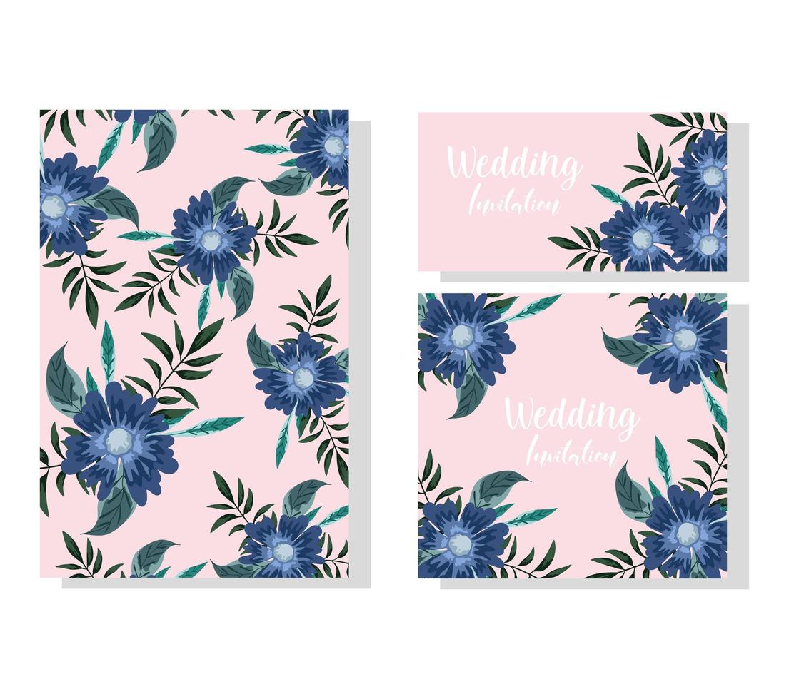 Hochzeitseinladungsblumen. dekorative Feierkarte oder Banner vektor