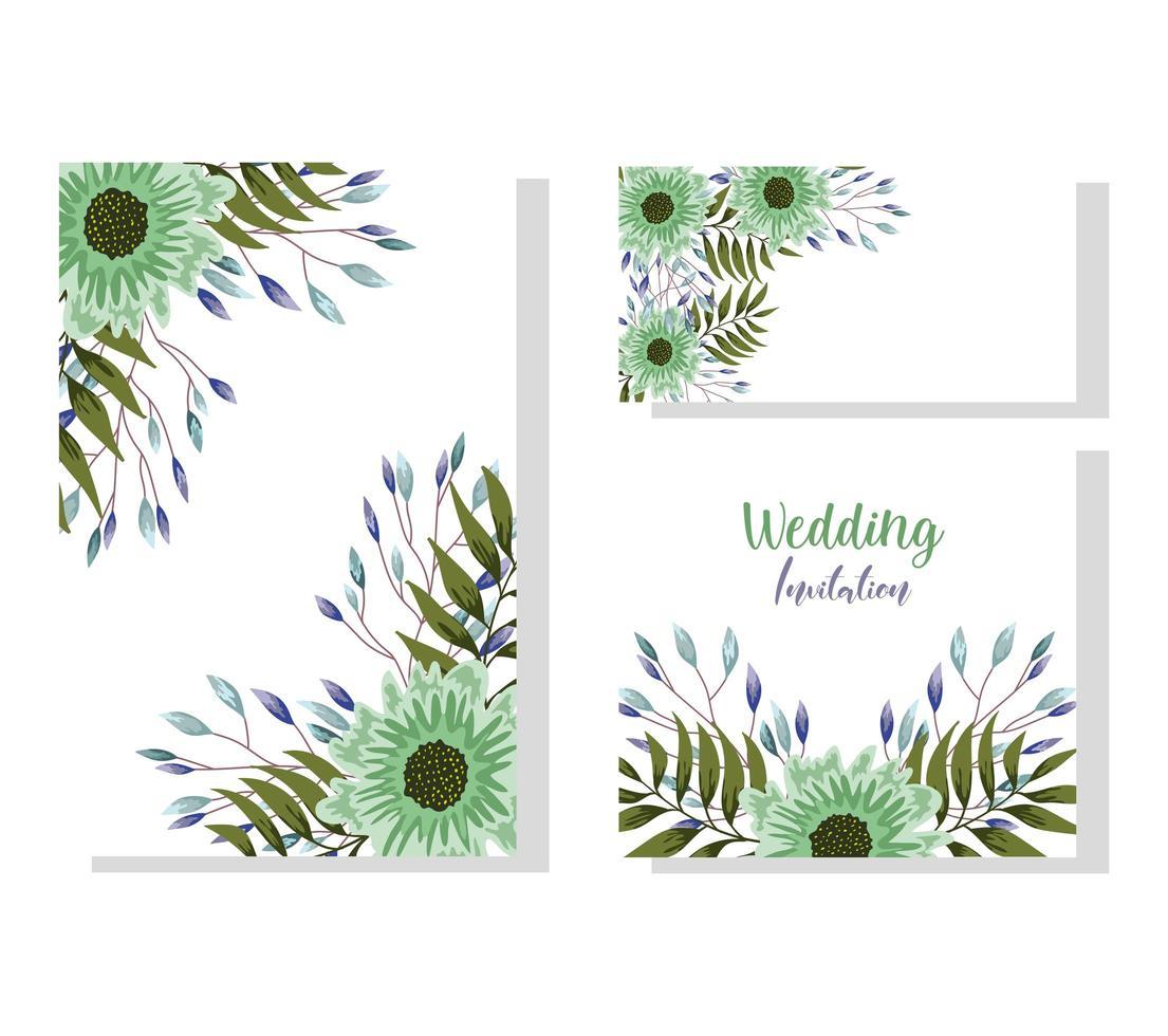 bröllop prydnad blommig dekorativa naturliga gratulationskort vektor