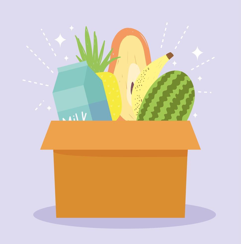 Box mit Lebensmittelgeschäft nach Hause Lieferung vektor