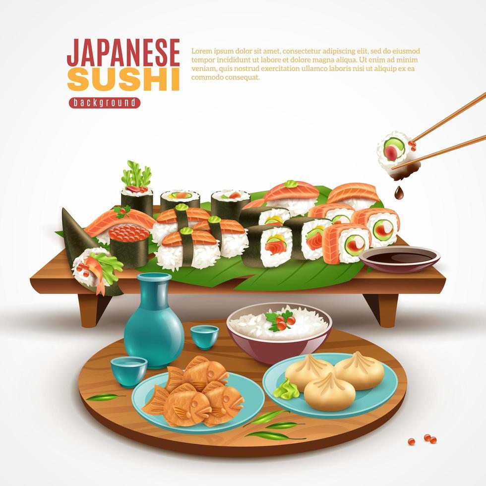 japanischer Sushi-Hintergrund vektor