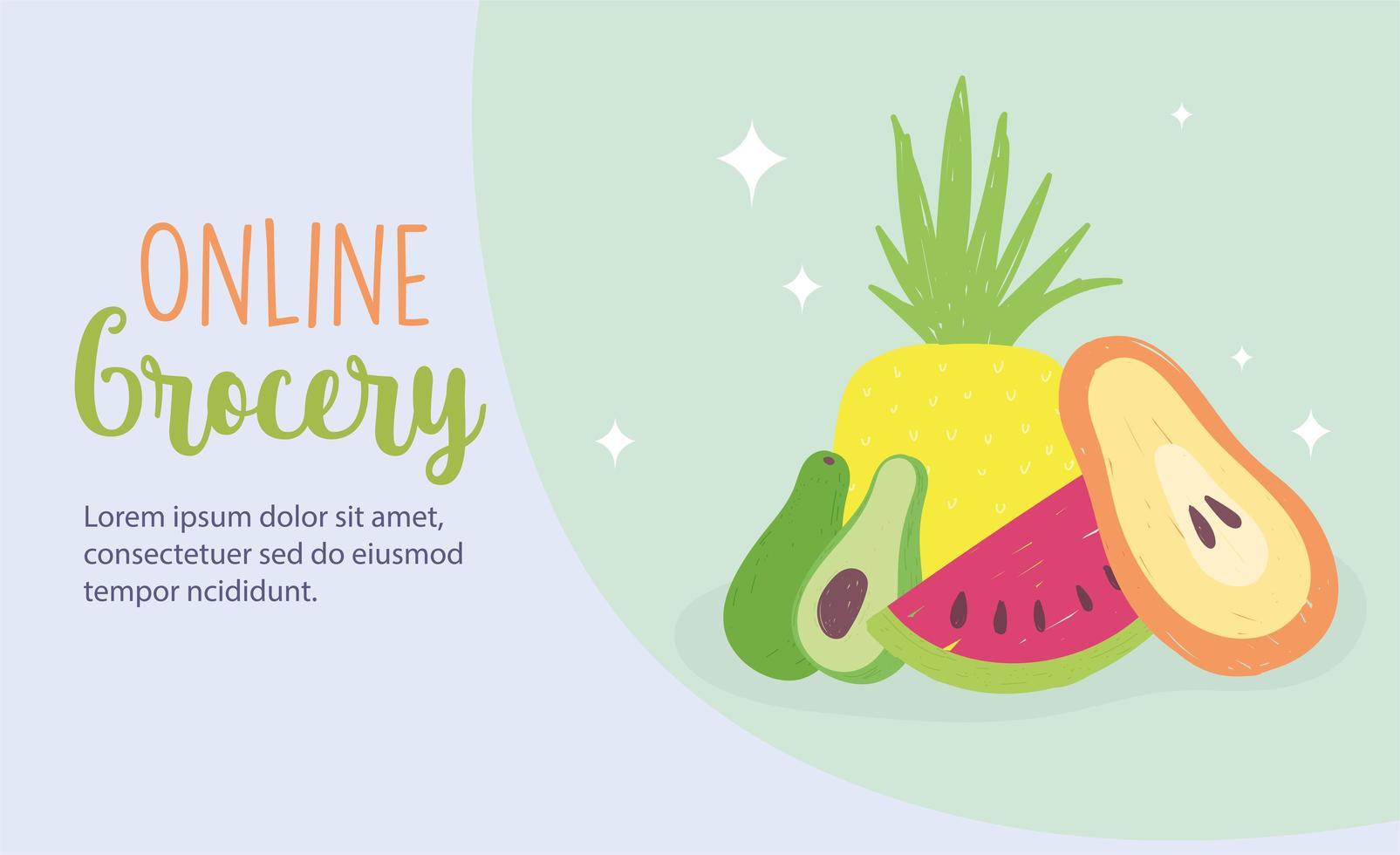 onlinemarknaden. färsk frukt livsmedelsbutik hemleverans vektor