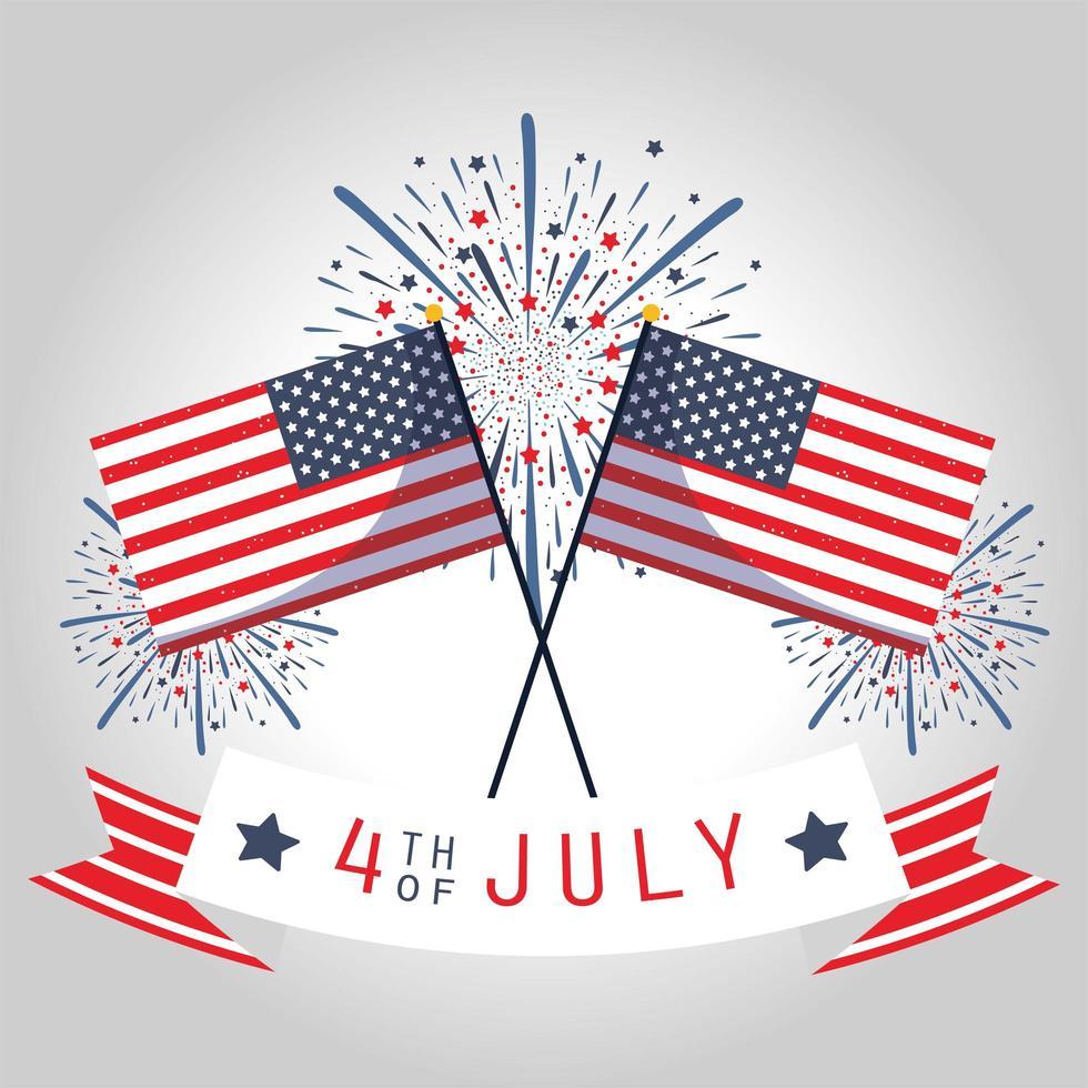 USA Unabhängigkeitstag, Flaggen, Feuerwerk und Band vektor