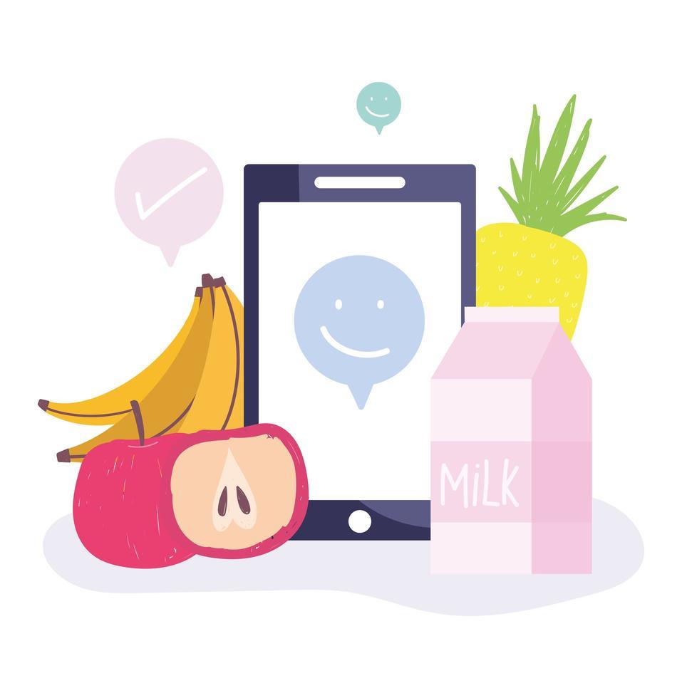 onlinemarknaden. smartphone, frukt och mjölk vektor