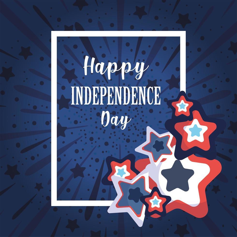 självständighetsdag med blå och röda stjärnor vektor