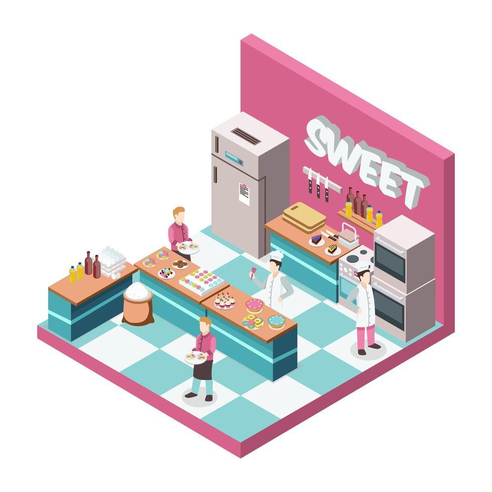 isometrischer Süßwarenladenküchenhintergrund vektor