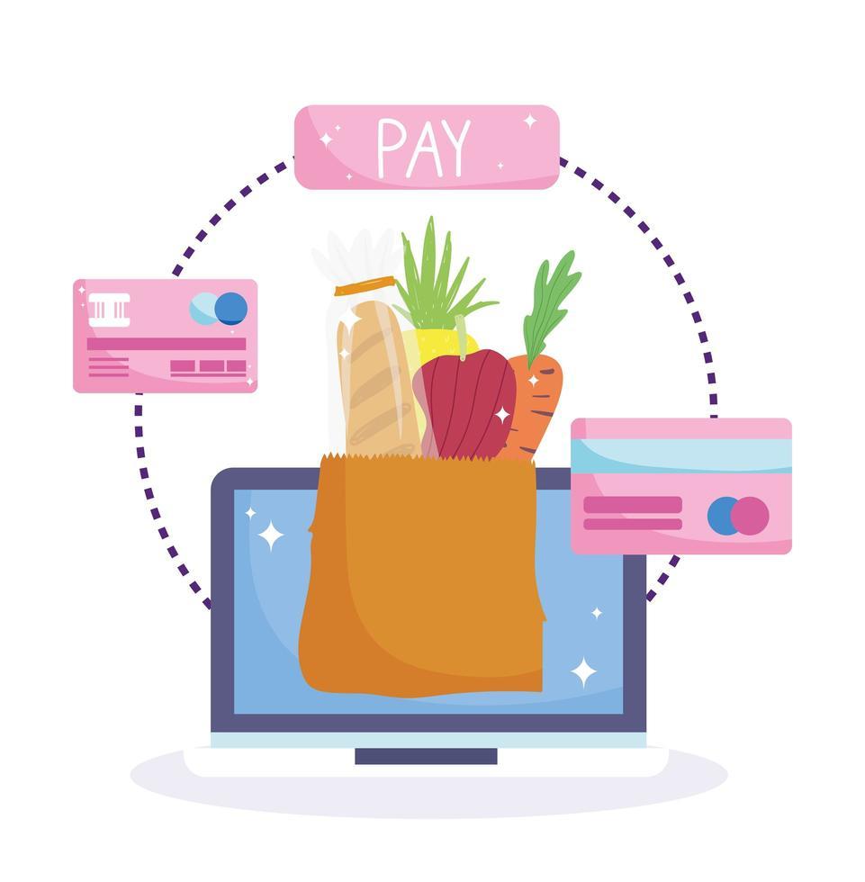 onlinemarknaden. mobilapplikation och betalningskort vektor