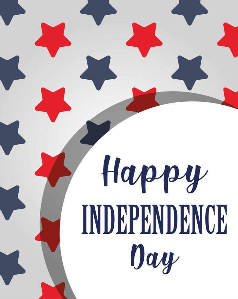 Unabhängigkeitstag auf rotem und blauem Sternenhintergrund vektor
