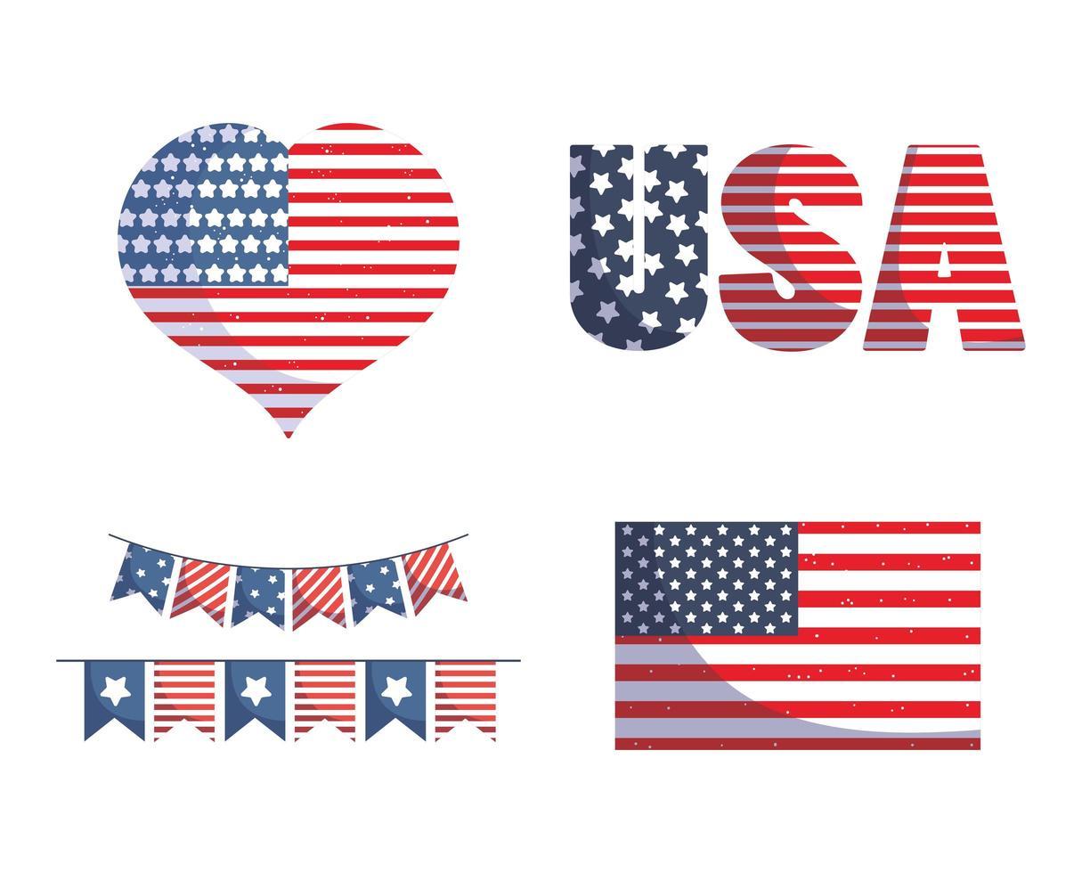 USA Flagge, Herz und Banner Wimpel vektor
