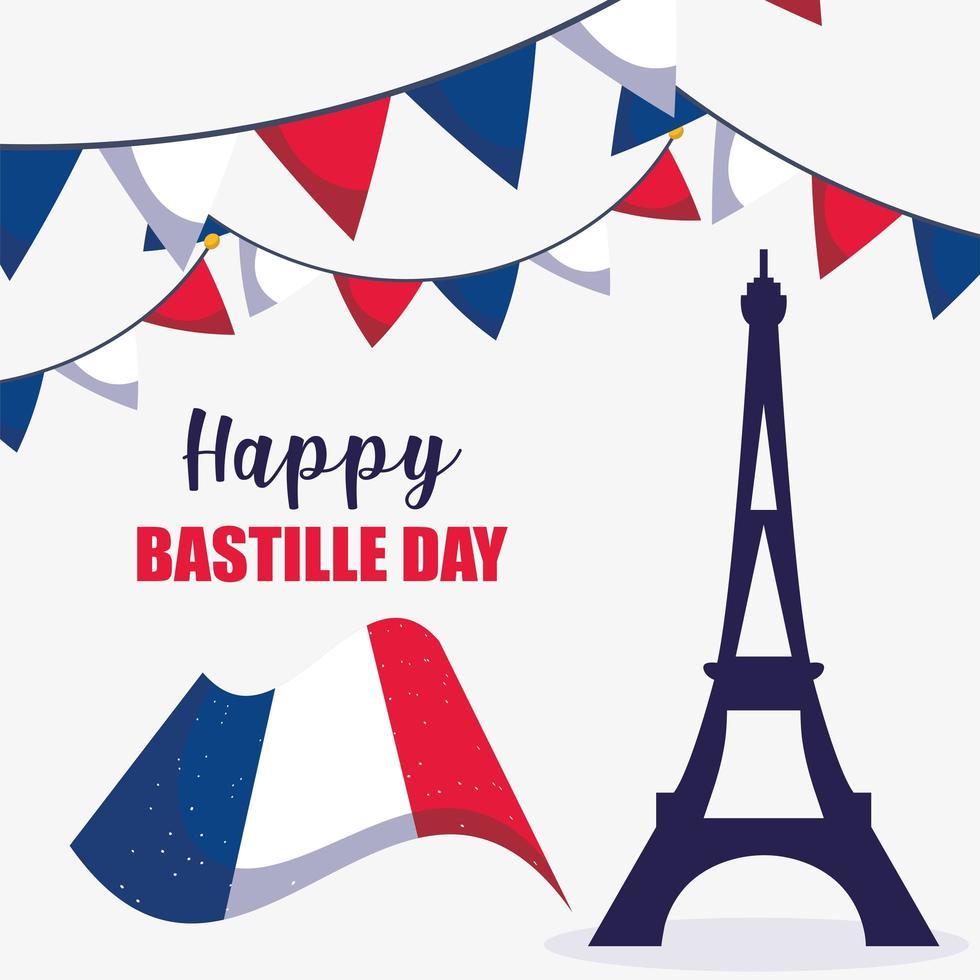 Eiffelturm und Flagge des glücklichen Bastille-Tages vektor