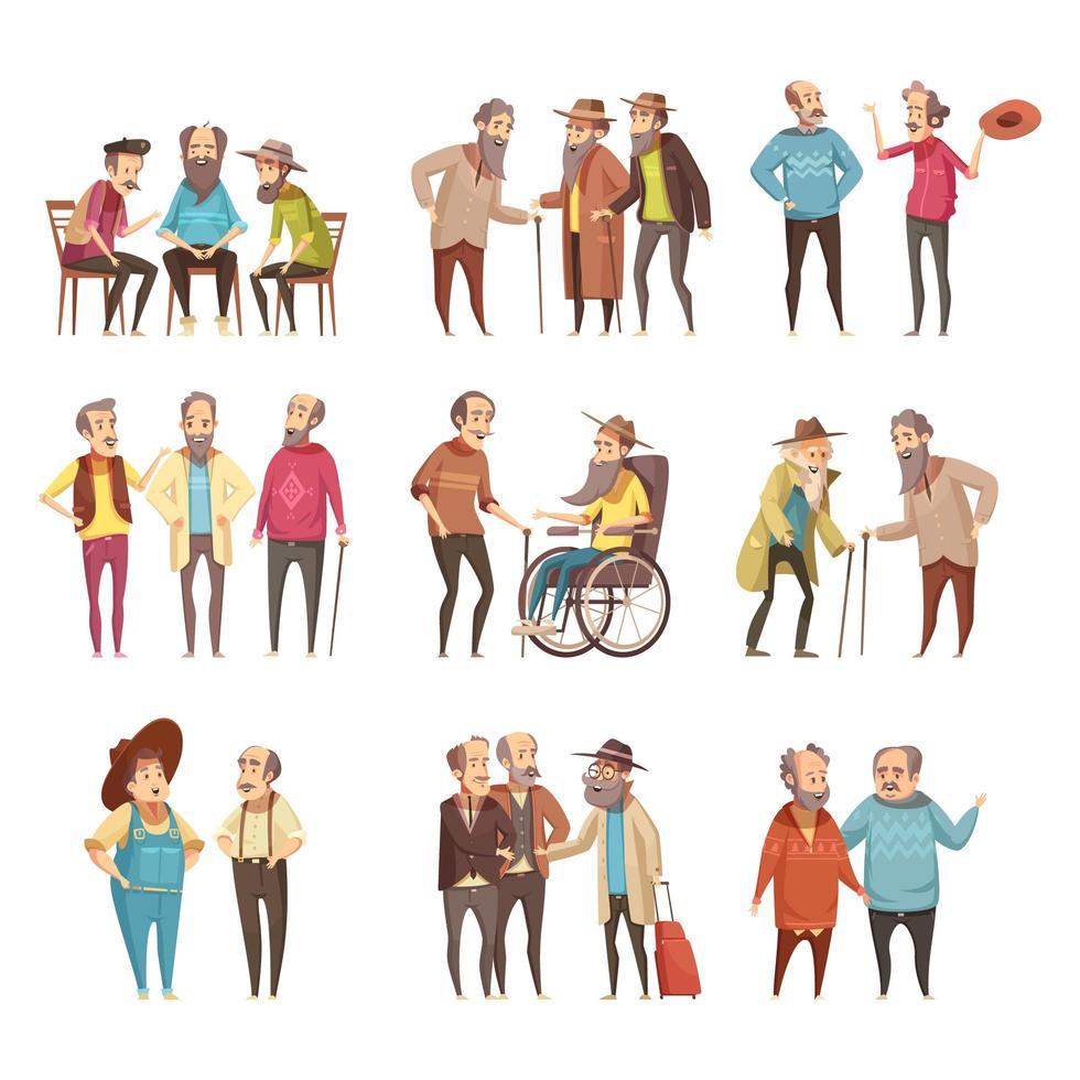 Gruppe älterer Männer reden vektor