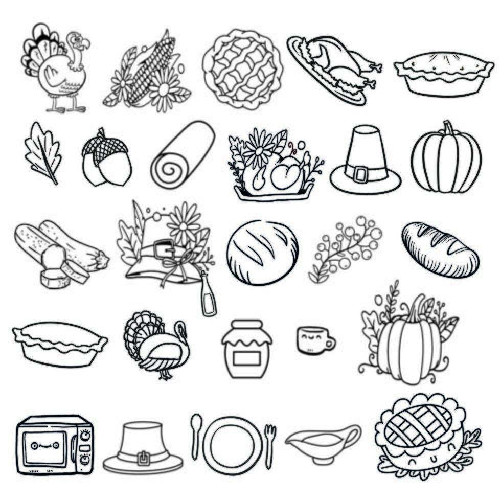 eine Reihe von Thanksgiving-Elementen vektor